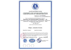 世世通质量管理体系认证证书(英文)